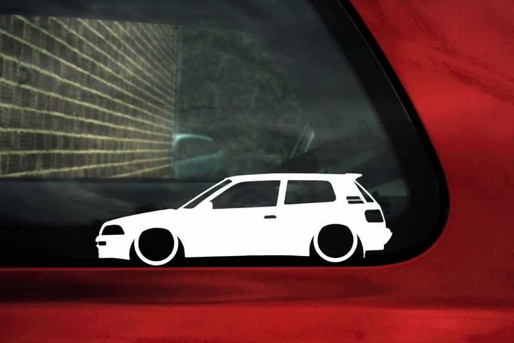 2x Low Car Outline Stickers Toyota Corolla Gti Gt Twin Cam